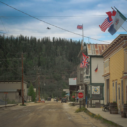 One of the beautiful streets of Dawson City, Yukon. The Films.Solution team can find different and original shooting locations.