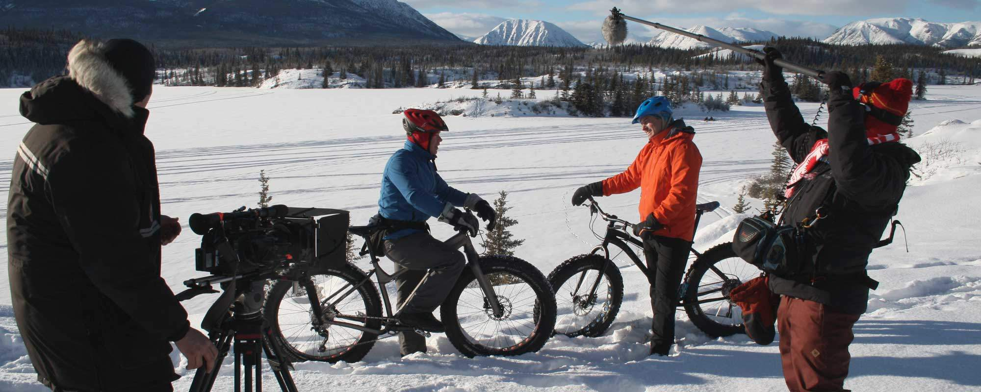 Filming in winter in the Yukon Territory for the TV Show The Great Trails, Our Canadian Film Fixer Crew was interviewing the owner of a Yukon Fatbike club, winter Filming in Canada